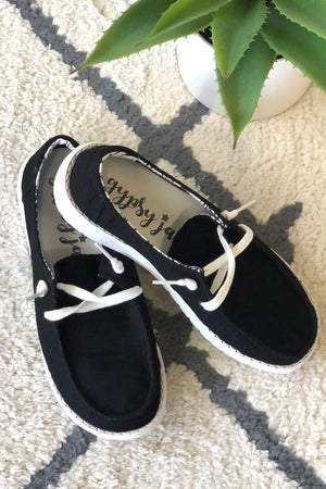 Gypsy Jazz Holly Slip On Boat Style Shoes : Black