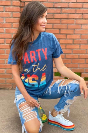 Party In The USA Burnout Tee : Dark Blue