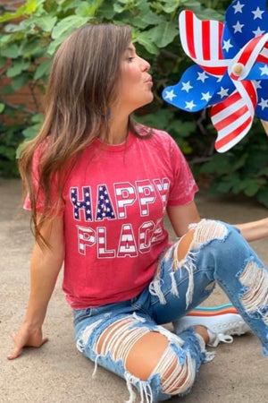 Happy Place Red,White & Blue Burnout Tee : Red