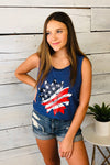 USA Sunflower Print Top : Blue