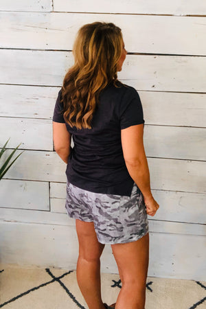 Things Change Drawstring Camo Shorts: Grey