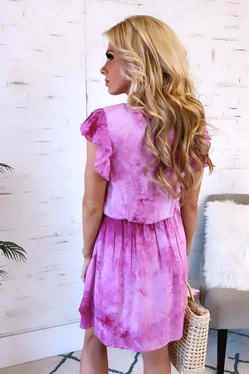 Sunny Saturday Ruffle Sleeve Tie Dye Dress : Magenta