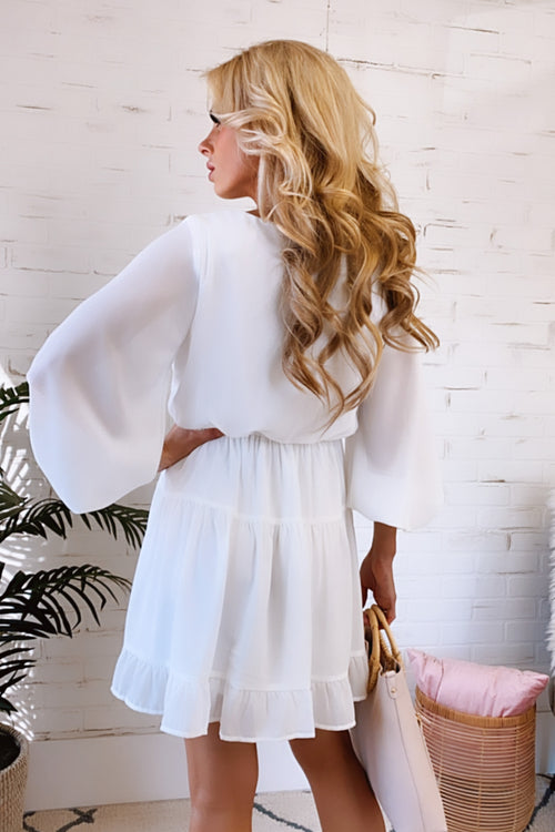 Bright Ideas Long Sleeve Ruffle Dress : White