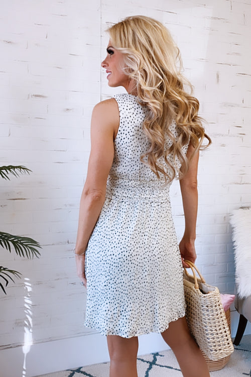 Promise Forever Dotted Smocked Waist Dress : Cream/Black