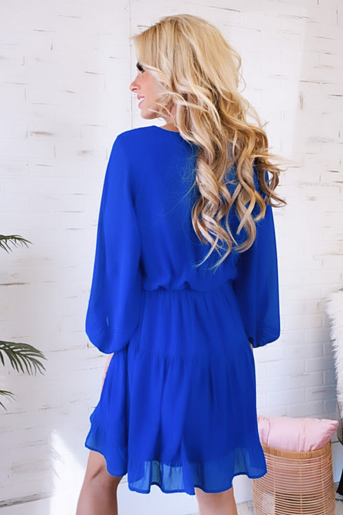 Bright Ideas Long Sleeve Ruffle Dress : Royal Blue