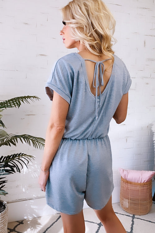 New Wave Tie Scooped Back Romper : Grey