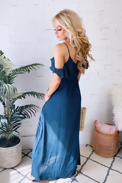 Fading Feelings Cold Shoulder Ruffle Maxi Dress : Navy