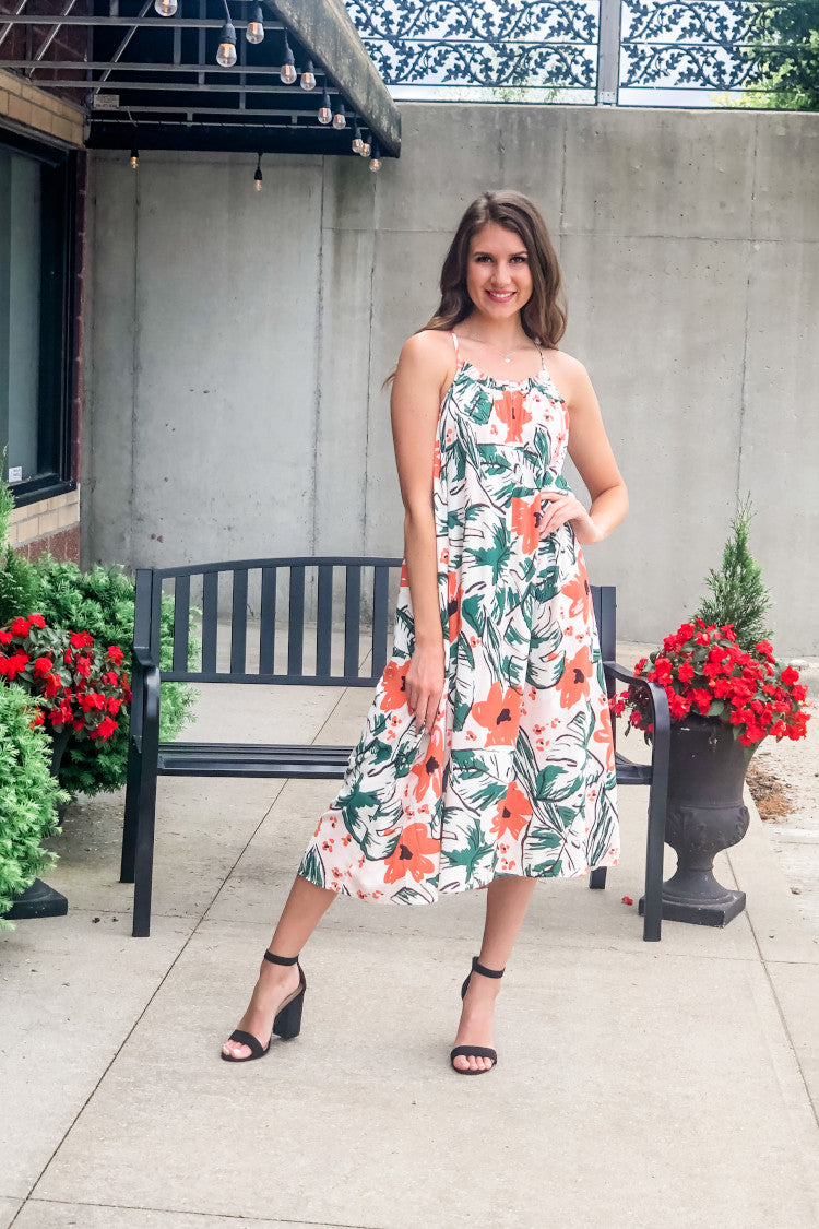 White Sand Beaches Floral Midi Dress : Coral/Green