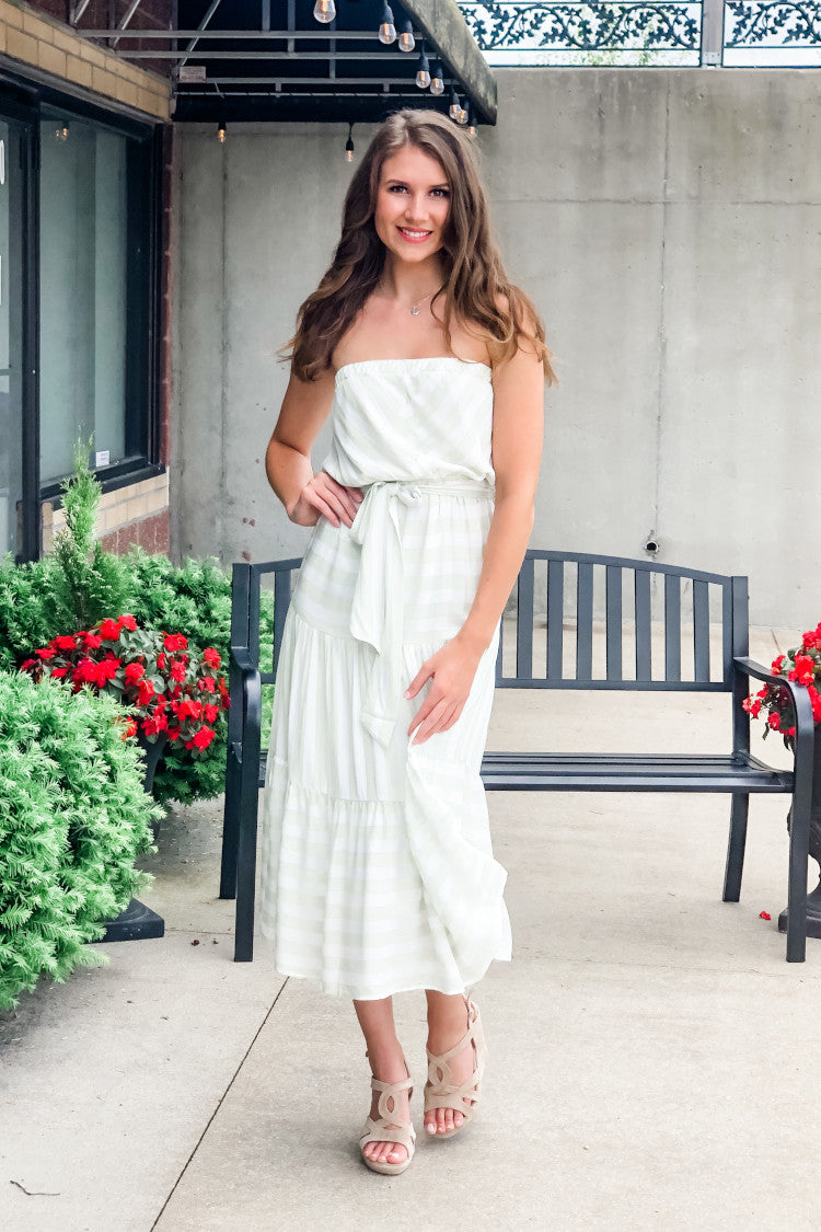 Sunset Pier Striped Strapless Dress : Sage/White