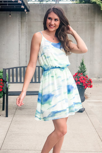 The Watercolor Ocean Dress : Green/Blue
