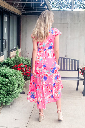 Villa Vacay Floral Dress : Hot Pink