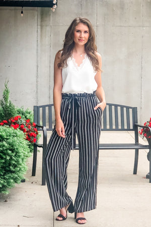Navy Pier Wide Leg Paperbag Striped Pants : Black
