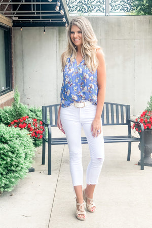 Venice On My Mind Floral Blouse : Blue