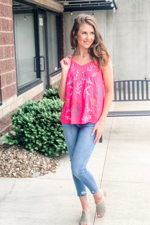 Patio Punch Sleeveless Top : Hot Pink