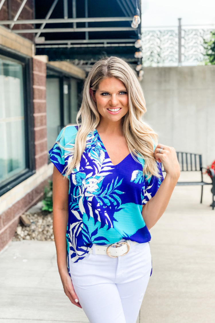 Sipping In The Shade Printed Top : Royal/Aqua