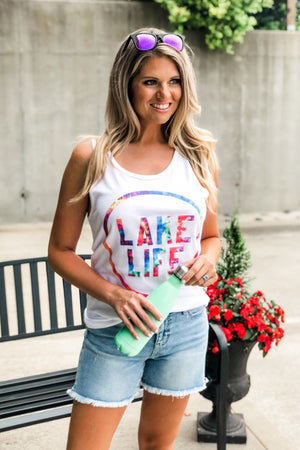 Lake Life Tie Dye Tank Top : White