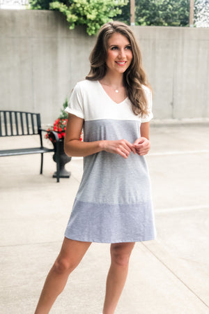 Top Of The Hour Color Block Dress : Off White/Grey