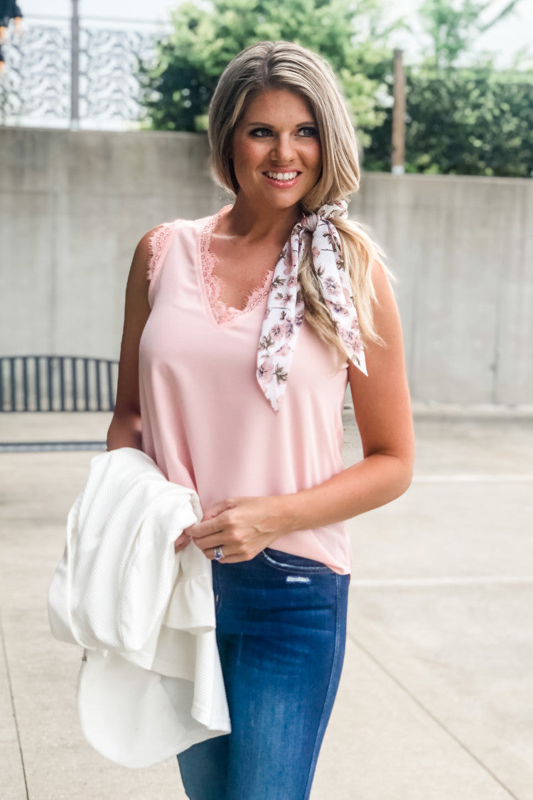 Weekend Welcome Lace Detail Top : Blush Pink
