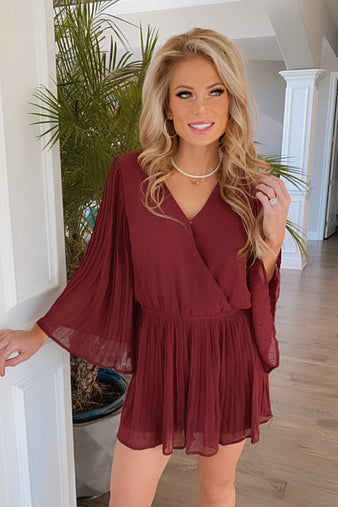 Raise A Glass Pleated Long Sleeve Romper : Burgundy