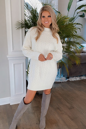 Dancing Till Dawn Cable Knit Sweater Dress : Cream