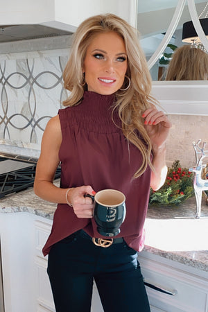 Midnight Toast Smocked Neck Sleeveless Blouse : Burgundy