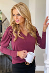 Definition Of Love Puff Sleeve Blouse : Wine