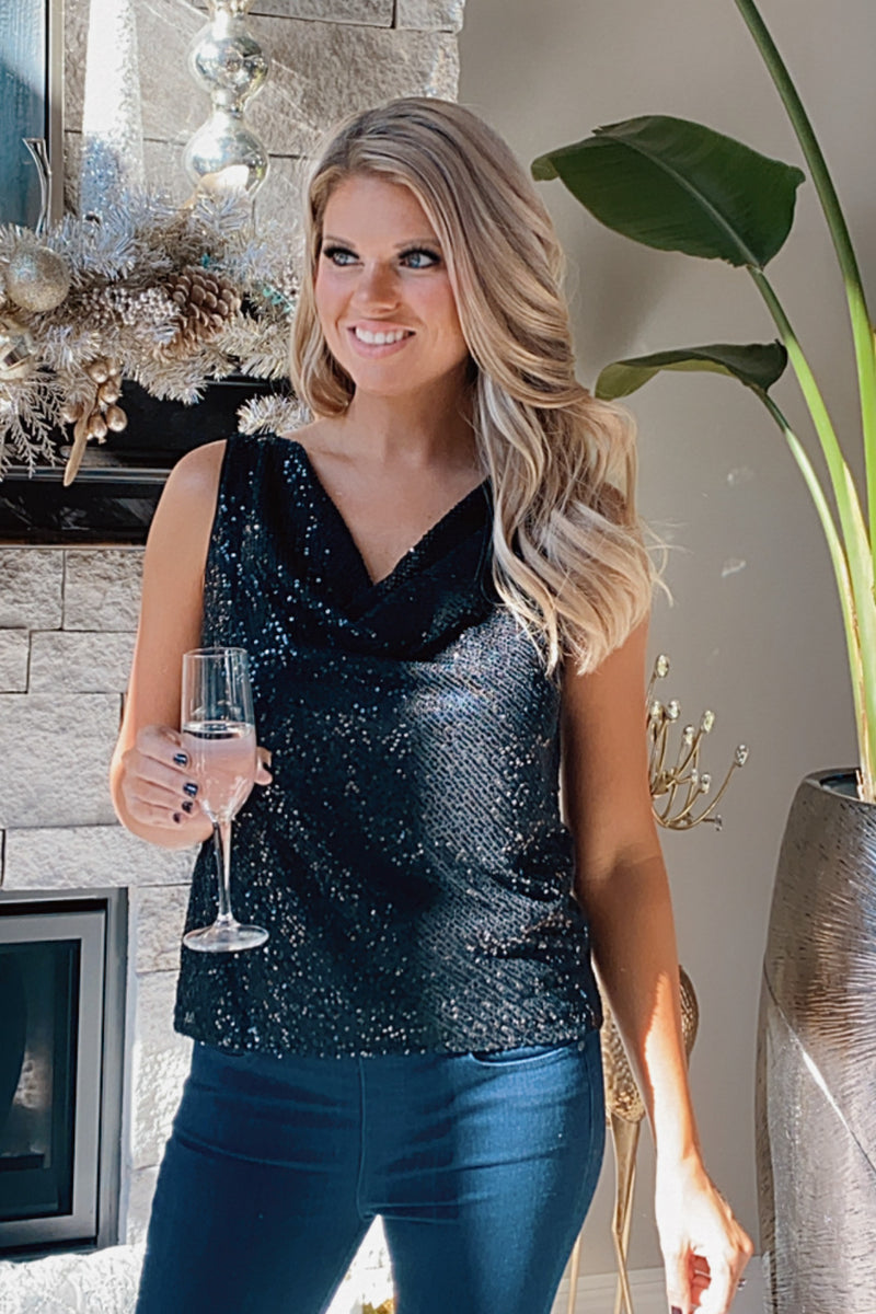 Shimmer In The Night Sleveless Cowl Neck Sequin Top : Black
