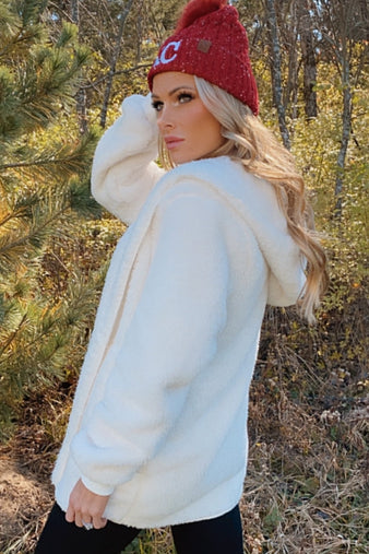 All Snowed In White Faux Fur Hooded Jacket : Cream