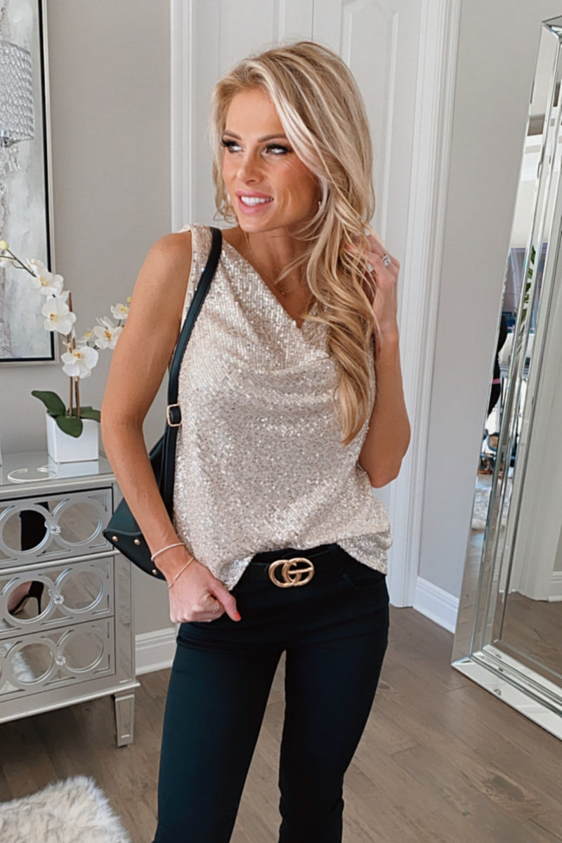 Shimmer In The Night Sleveless Cowl Neck Sequin Top : Taupe