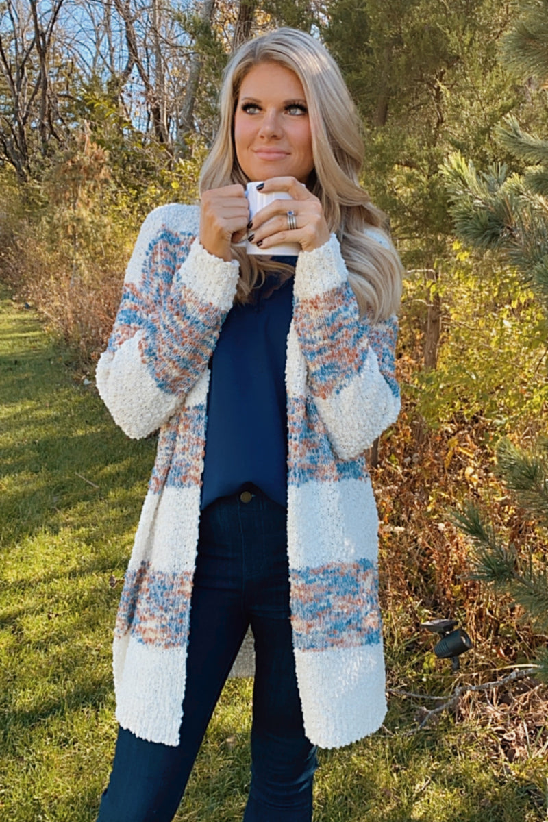 Show Your Enthusiasm Popcorn Cardigan : Blue/Ivory