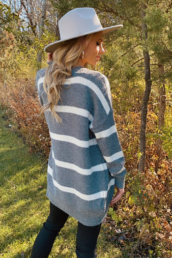 Loved By You Striped Cardigan : Charcoal