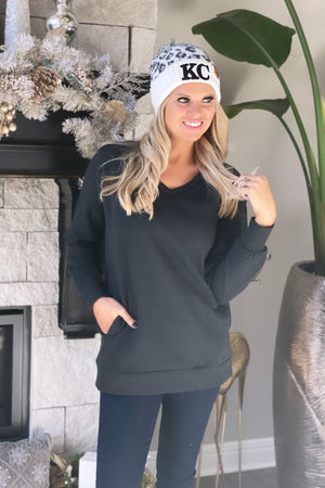 Three Day Weekend Long Sleeve V-Neck Pullover : Charcoal