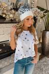 Catch A Star Distressed Hem Star Short Sleeve Top : Ivory