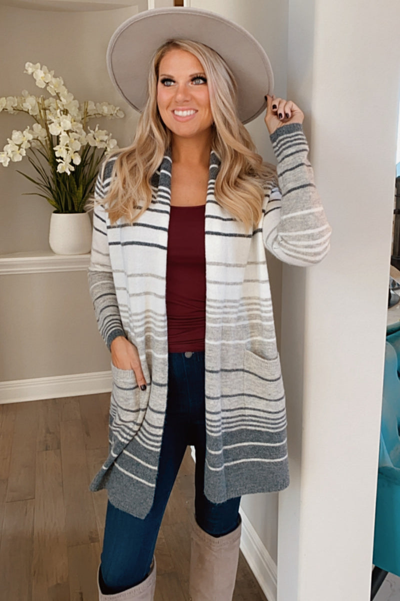 A Peaceful Place Striped Pocket Cardigan : Grey/Ivory