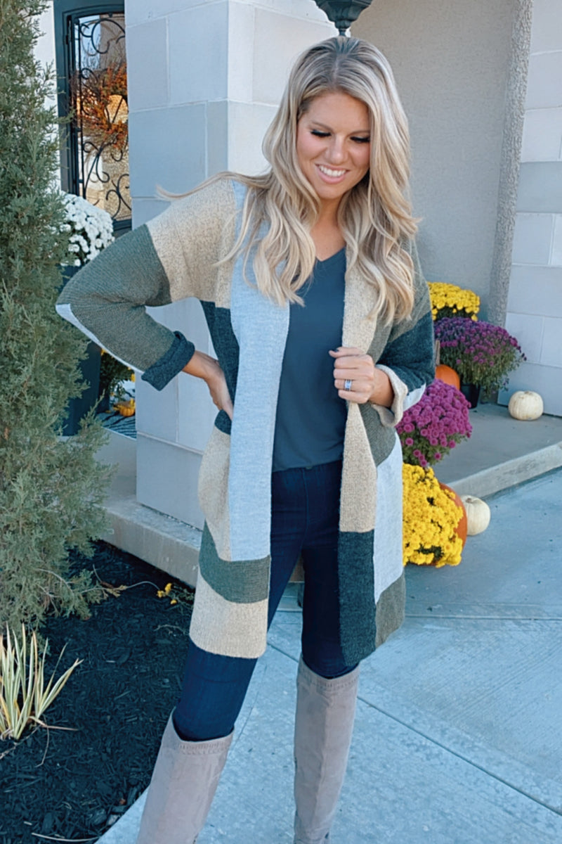 Lost In This Moment Color Block Pocket Cardigan : Olive