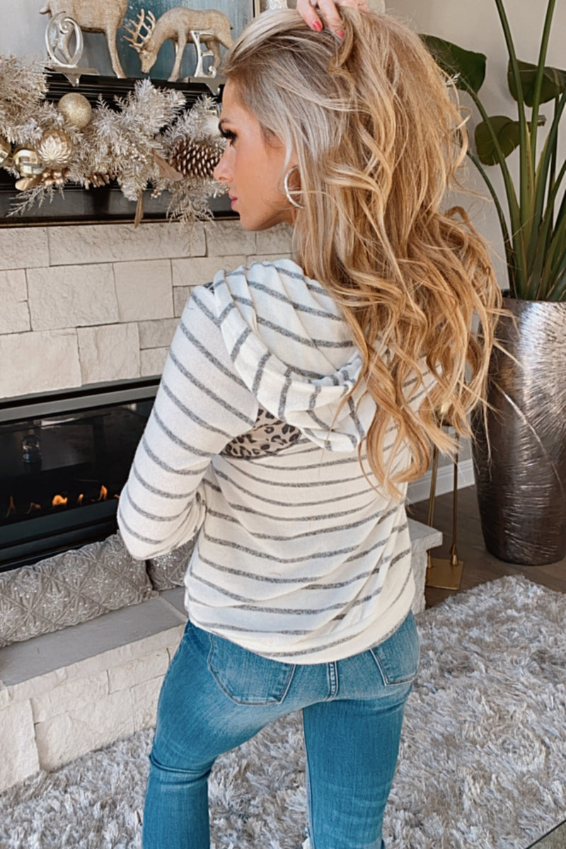 Fab Life Brushed Mixed Animal Print Hoodie : Grey