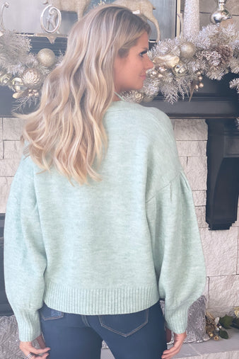 Let's Get Crazy Button Cardigan : Sage