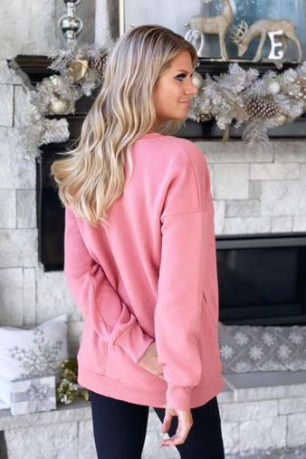 Three Day Weekend Long Sleeve V-Neck Pullover : Dusty Rose