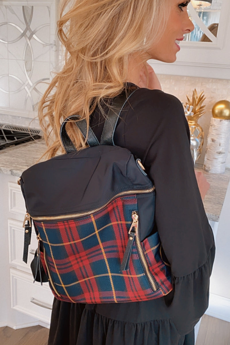 Around Town Plaid Backpack : Black