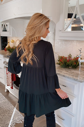 Everything You Need Bell Sleeve Dress: Black