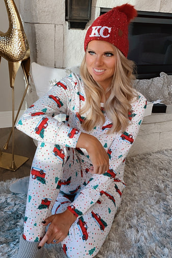 Christmas Spirit Super Soft/Fleece Lined 2-Piece Pajama Set : Red Truck