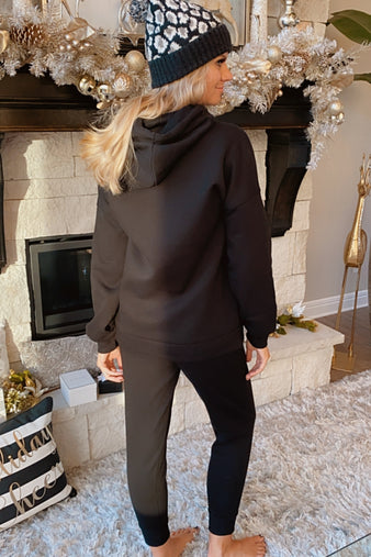 Like To Lounge Hoodie and Jogger Set : Black
