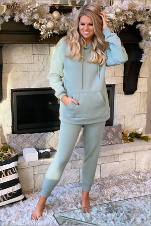 Like To Lounge Hoodie and Jogger Set : Light Green
