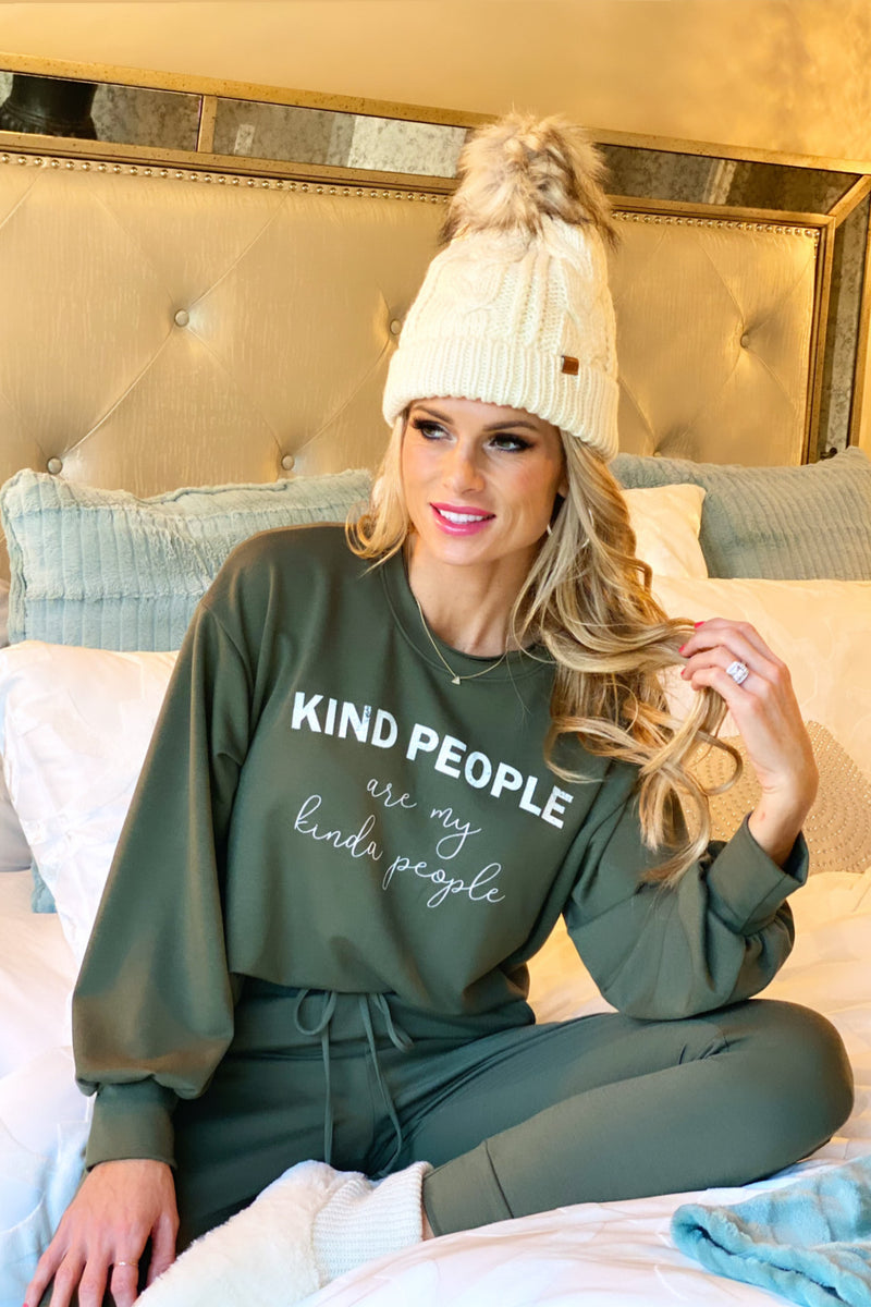 Kind People Are My Kinda People Lounge Set : Olive