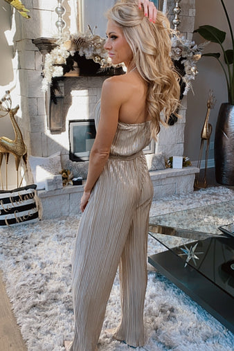 City Of Lights Pleated Sleeveless Jumpsuit : Gold