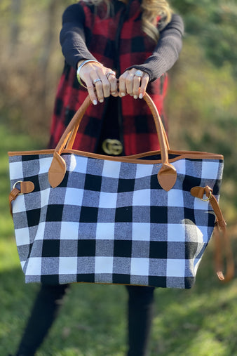 Weekend Getaway Buffalo Plaid Tote Bag : Black/White