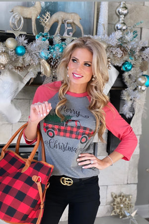 Merry Christmas Red Truck Raglan Graphic Top : Grey