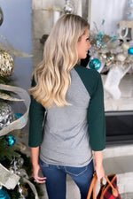 Holly Jolly Raglan Holiday Graphic Top : Grey