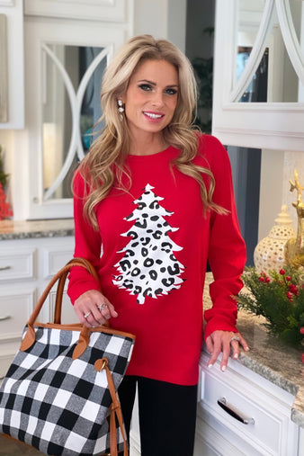Leopard Christmas Tree Long Sleeve Holiday Graphic : Red