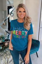 Be Merry & Bright Holiday Graphic Tee : Blue